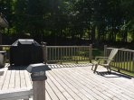 The extra large deck looking out onto the back acres of trees and just natures beauty!!