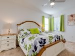 Down stairs master  bedroom with king size bed , chest with mirror  5 draw chest , flat screen TV