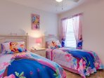 A room for the little Princess twin beds , flat screen TV , all bedrooms have ceiling fans,