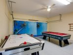 Games room , 8ft air hockey with lights and sound , also 8ft pool table