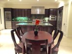 Kitchen with Professional appliances and wine cooler.