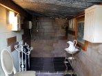 Shower facilities in a separate outbuilding