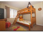 Winnie the Pooh Themed Triple Bedroom with Full lower and Twin upper Bunkbed