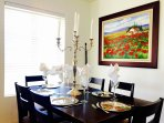 Dining room festively decorated.