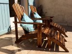 Adirondack chairs for lounging on the terrace