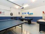 Games room table tennis, air hockey, pool and darts