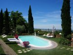 The pool terrace has a beautiful views over the Pisan hills and valley