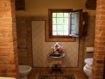 The beautiful bathroom has a shower cubicle, washbasin, bidet and WC