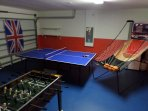 The Games Room,With Table Tennis,Foosball, Basketball and Darts.
