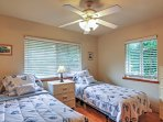 With 2 twin beds, this room is perfect for the kids.