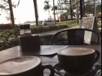 A breakfast veiw from one of the beautiful cafes along Mooloolaba beach, many cafe's tochoose from.