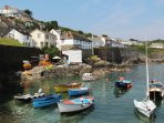 Coverack Harbour, enjoy some organic ice cream , award winning fish and chips or a pasty/cream tea