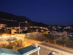 The night scape of the town and mountains