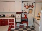 Vintage storage stove in Diner Kitchen.