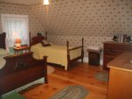 the largest bedroom has a double and twin bed
