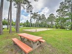 The volleyball court, tennis courts and picnic tables are yours to use!