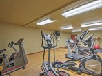 Take a break from hiking and skiing and use the fitness center to fuel your morning workout.