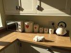 Kitchen with sleepy bear