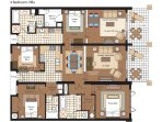 Floor plan when renting both the 3-bedroom villa 106 and it's adjoining studio villa 105.