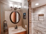 Rinse off in this bathroom's walk-in shower.
