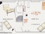 Plan d'ensemble du logement de 45 m2