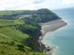 A distant view of Lynton and Lynmouth