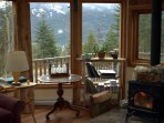 the living room with wood stove