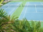 Flood-lit All Weather Tennis Courts we make some equipment available for your use at our home
