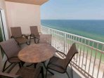 Dining and lounging area on Gulf-front balcony