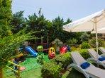 Fenced children's playground