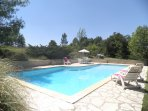 Swimming Pool (12m x 6m) with table, chairs and loungers enjoying total privacy.
