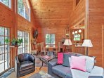 Wood furnishings throughout give this home a rustic feel.