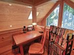Complete any last-minute work at this desk with a view of the outdoors.