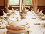 The dining room is formal and glamorous, you might be tempted to 'dress' for dinner