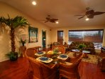 Open floor plan is ideal for family time together. A new glass table top now seats 6 comfortably.