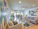 Relax and unwind in this spacious and stylishly decorated living area.