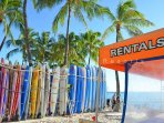 Surfboard rentals at Waikiki Beach