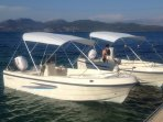 you can rent a boat form NV 'beach bar and sea sports'