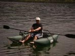 The pontoon rowboat is great for fishing
