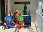 Use our beach chairs, toys and boogie boards for fun at the beach
