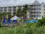 Walk to the tiki bar for lunch or drinks at the Marriott Hotel, just down the beach