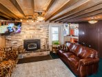 Wood burning fireplace efficient and heating extraordinare - DISH programming for both televisions