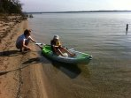 Kayaks are complimentary & the beach is shallow and safe for children