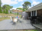 Backyard with Dining and gas barbecue- enclosed hot and cold - 26 Ridgevale Road South Harwich Cape Cod New England ...