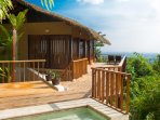 *New outdoor shower area by plunge pool, overlooking jungle canopy & bamboo gardens
