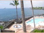 Oceanfront view from private lanai with oceanfront pool and spa