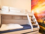 Bunk bed that can sleep 4 children with full floor to ceiling closet