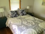 Bedroom 1 with a Queen bed and 100% Organic Cotton Bedding.