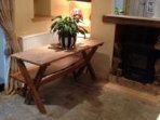 Dining area old Victorian Table Flag Stone floors and Log Burner Fire