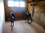 Fully equipped bike shed, with stand, tools, pressure washer, stirrup pump and map of local routes.